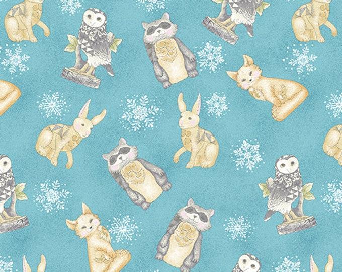 Benartex - White Woodland - Woodland Creatures - Turquoise - Winter Animals - Woodland Animals - 06647-80 - Sold by the Yard