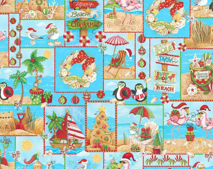 Blank Quilting - Holiday Beach - Patch - Flamingo fabric - Surfing Santa- Christmas Flamingo - Flamingo fabric- Sold by the Yard