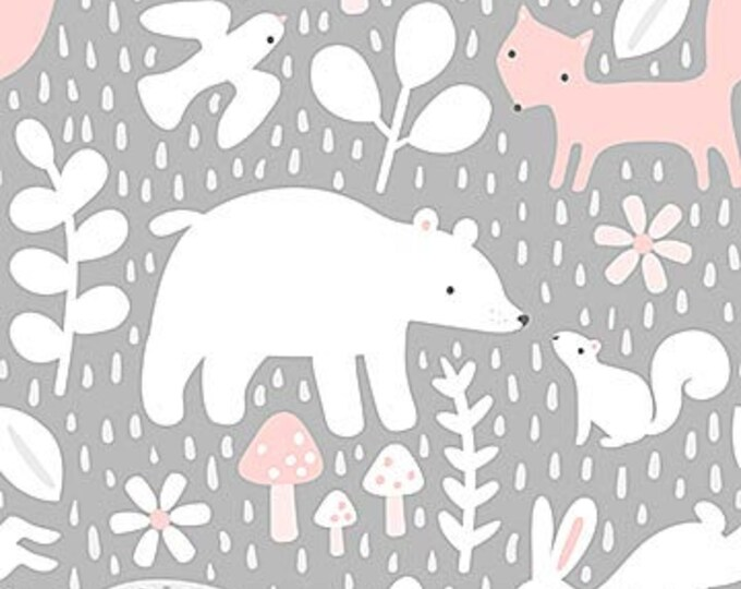 New - Northcott - Hello Little One - Gray Forest with Pink - Animal Baby Print - Baby Pastel - Baby - Pastel - 22692-22 -  Sold by yard