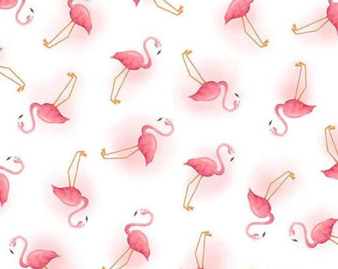 Blank Quilting - Lets Flamingo - Mini Flamingo  - White -  1272-01 - Sold by the Yard