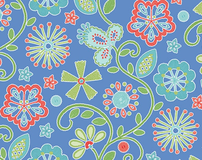 Benartex - Contempo -Sewing Room - by Amanda Murphy - Embroidery - Periwinkle Blue - 3403-50 - Sold by the Yard