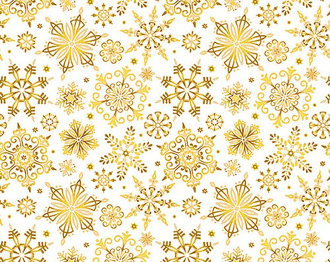 Studio E - Christmas Joy  -  Snowflakes - Gold on Cream - Christmas Fabric - Cream -  Gold Metallic - 4695M-33- Sold by the Yard