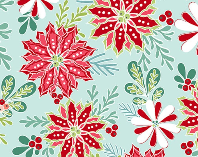 Benartex - Heart and Home - Poinsettia -  Quilt Shop - Christmas - 10323-04 -  Light Teal - Sold by the Yard