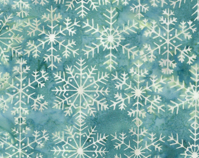 Island Batik - Large Snowflake - Snowflake Batik -  Batik -  -  Light Bermuda - Teal - Lt Blue - Sold by the Yard