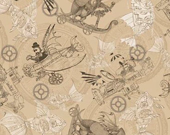 Quilting Treasures - Fantasy & Fiction - Steampunk Toile - Tan - Steam Punk - Steam Punk Animals - 27552A  - Sold by the Yard