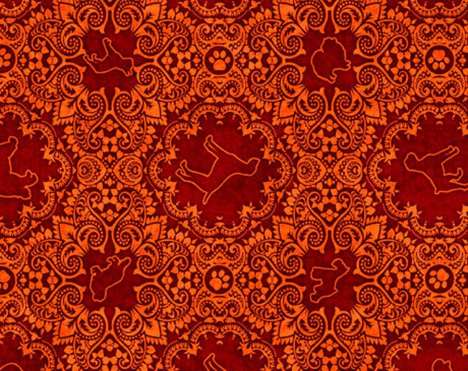 "Quilting Treasures - Must Love Dogs - Medallion - Orange -  36""x44""  - 26940O- Sold by the Yard"