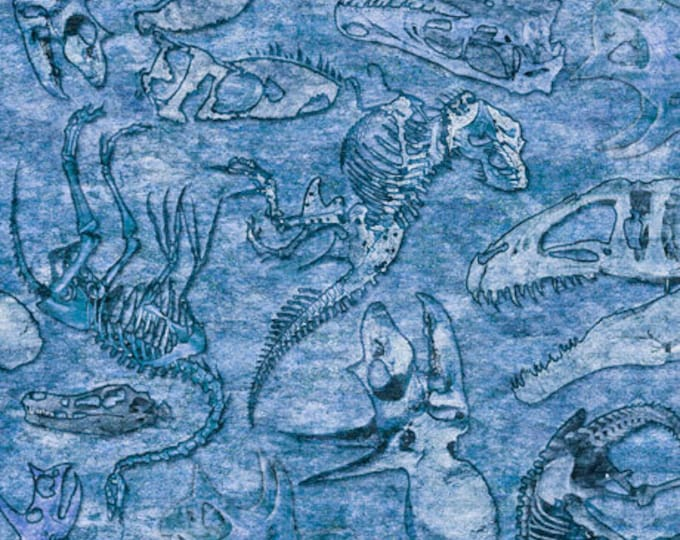 Quilting Treasures - Lost World - Dinosaur - Fossils - Blue - 26803B - Sold by the Yard