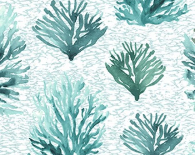 "Clothworks - By the Seashore - Coral Reef - Light Teal -  36"" x 44"" -  y2962-103- Sold by Yard"