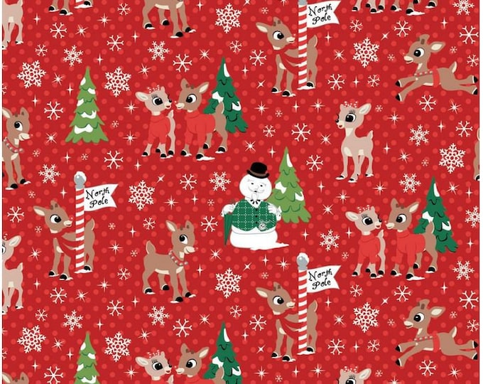 Camelot - Rudolph Christmas Fabric - Rudolph and Friends - Rudolph the Red Nose Reindeer - North Pole - Red -  62010203-1 - Sold by the Yard