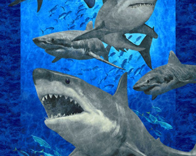 "New - Northcott - Stonehenge - Shark Attack - Oversize Panel -  DP24060 - Shark Panel - Panel - 43""x67"" - Sold by Panel"