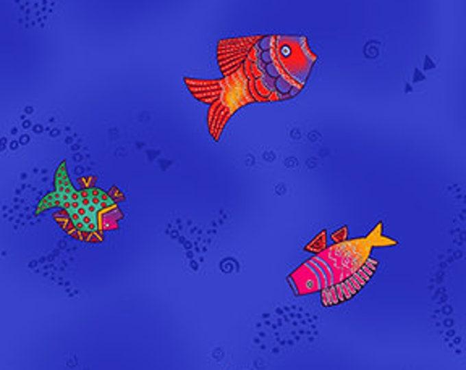 Laurel Burch - Sea Goddess - Fish - Light Royal - Silver Metallic  -  Y2601-91M - Sold by Yard