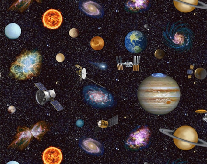 Studio E - Planetary Mission - Outer Space - Hubble Telescope - Space - Astronaut  -  5303-97  - Sold by the Yard