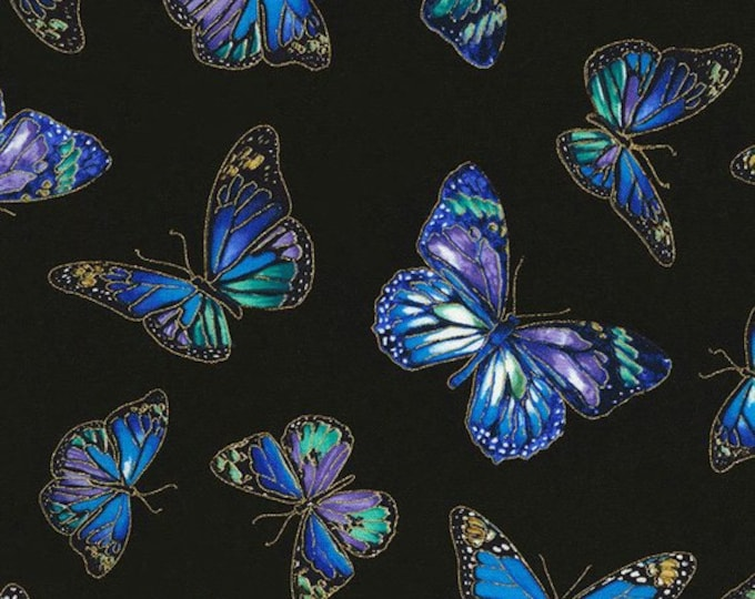 Timeless Treasures -  Enchant - Butterfly - Fabric - All over Butterly Print -  Gold Metallic - CM5875 - Black  -  Sold by the Yard
