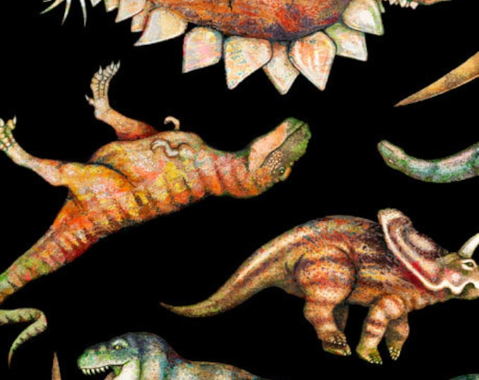 Quilting Treasures - Lost World - Dinosaur - Dinosaur All Over Print - Black - 26800J - Sold by the Yard