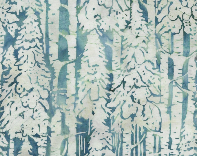 Island Batik - Snow Trees - Tree Batik - Batik - Light Lagoon - Teal/White - Sold by the Yard