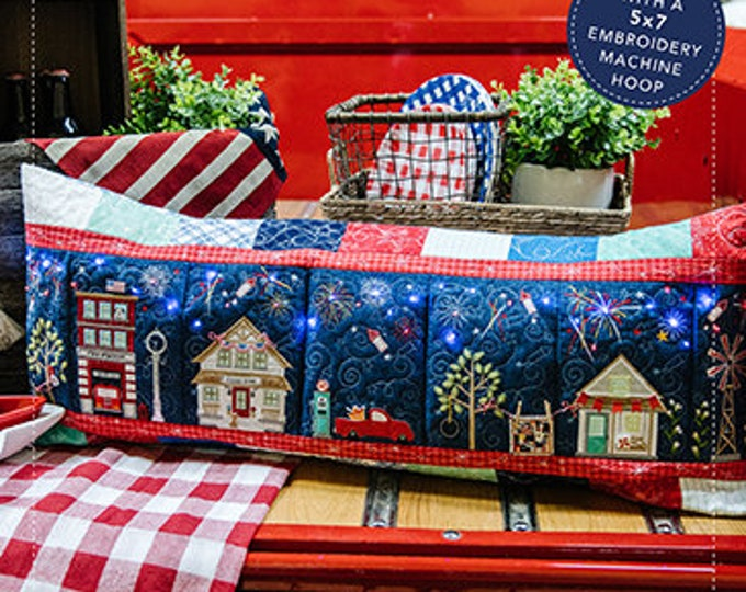Kimberbell - Main Street Celebration - Bench Pillow - Kit - Embroidery CD and Embellishment Kit - Sold by the Kit - FREE SHIPPING