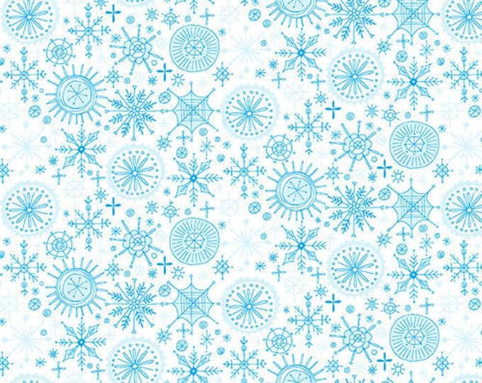 Blank Quilting - By Golly Let's Be Jolly - Snowflakes - Teal on White - 9562-01 - Sold by the Yard