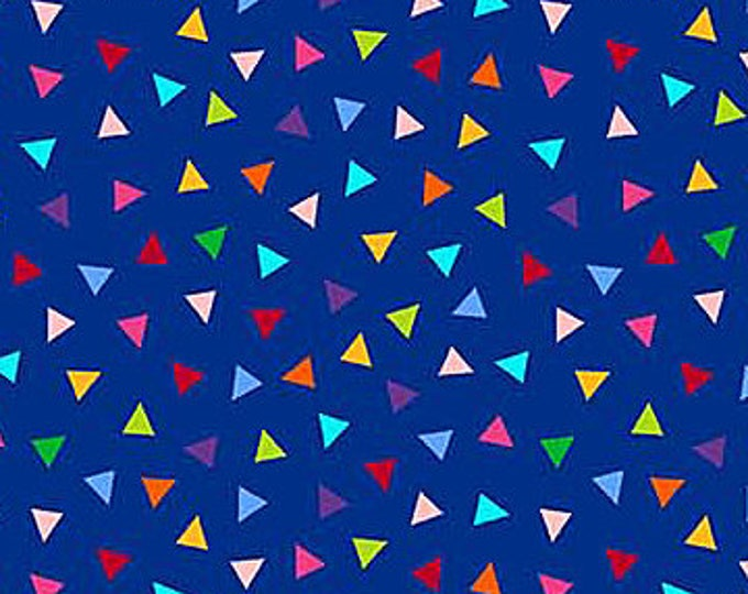 Northcott - Colorwork Concepts - 20793-44 - Multi colored Triangles on Blue Background - Fabric by the Yard