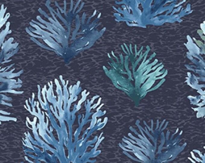 "Clothworks - By the Seashore - Coral Reef - Denim  -  36"" x 44"" -  y2962-88 - Sold by Yard"
