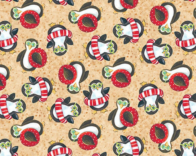 Blank Quilting - Holiday Beach - Penguins  - Island Santa - Surfing Santa  - Christmas Flamingo - Flamingo fabric- Sold by the Yard