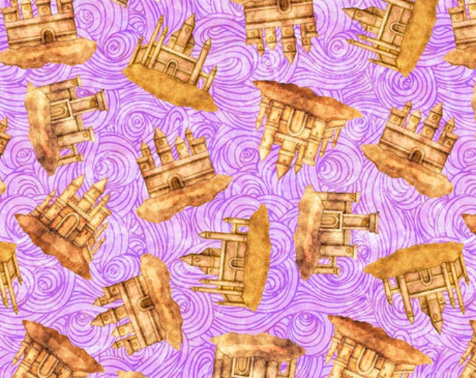 """Quilting Treasures - Sea Serenade  - Mermaid - Sand Castles  - Lilac -  36""""x44""""  - 27195L - Sold by the Yard"""
