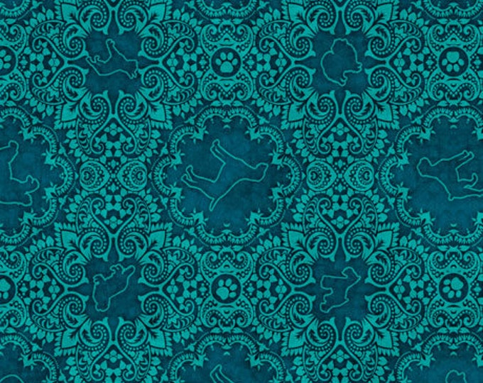 """Quilting Treasures - Must Love Dogs - Medallion - Aqua -  36""""x44""""  - 26940Q- Sold by the Yard"""