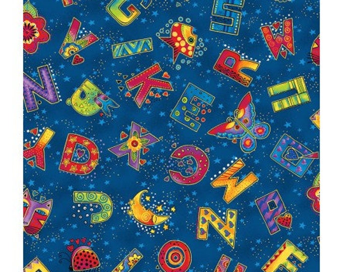 Laurel Burch - Laurel Land - Navy Alphabet Letters - Y1782-93M - Yard - Metallic