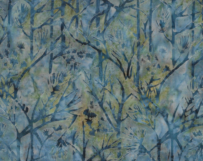 Island Batik - Twig - Tree Batik - Batik - Frozen Pond - Blue - Sold by the Yard