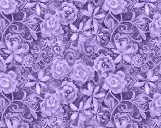 Blank Quilting - Papillon Parade - Tonal Floral - Purple - 9369-55 - Sold by the Yard