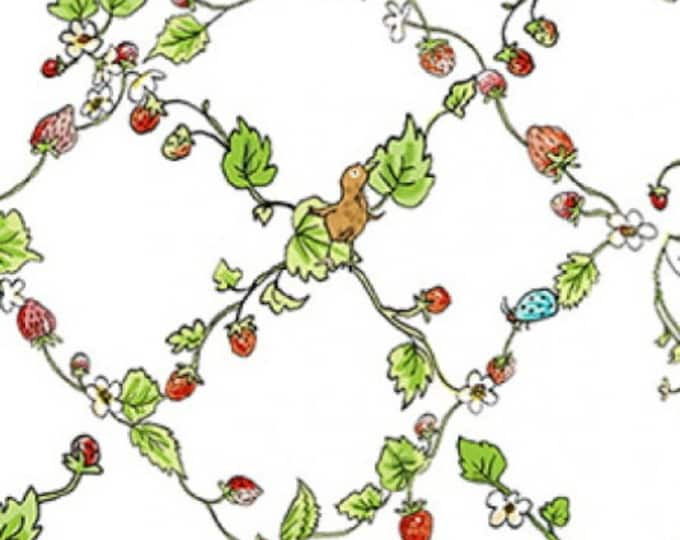 "Clothworks - Garden Party - Diagnal Strawberry Vine - Animal -  36"" x 44"" -  y2736-1 - White - Sold by Yard"