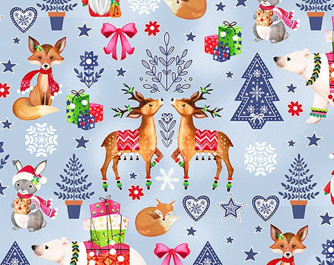 Blank Quilting - Nordic Forest  - Decorative Animals -  lt Blue  - All over print  - 9573-79 - Sold by the Yard