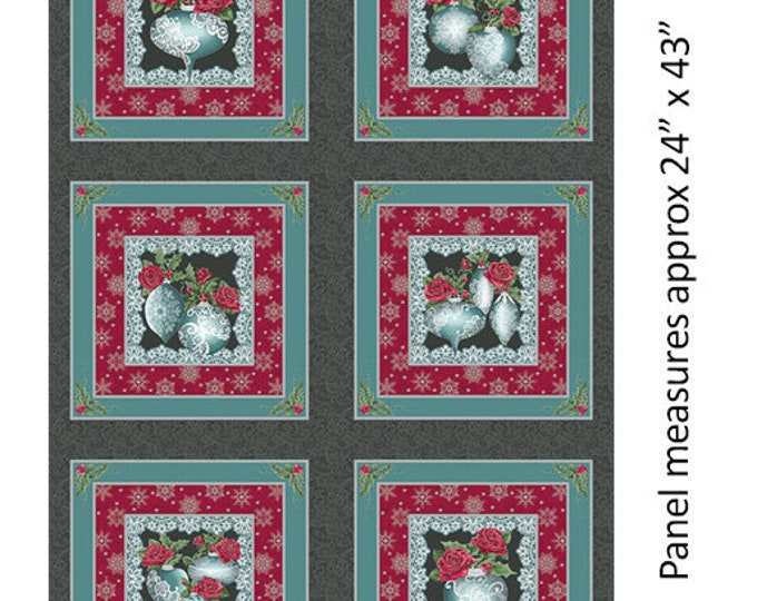 Benartex - A Festive Season II - Lace Panel -Lace Ornament - Metallic - Silver - Lace - Charcoal/Teal - Panel - 2616M11B - Sold by the Panel