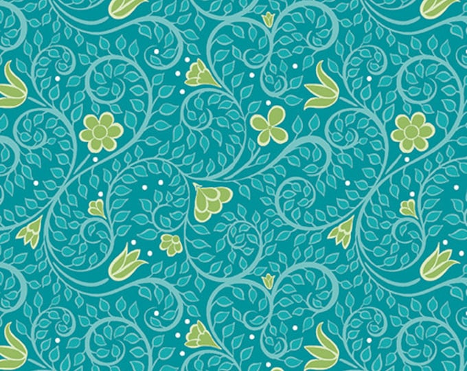 Benartex - Contempo - Folk Art Fantasy - by Amanda Murphy - Leaf Blender - Dark Turquoise - 3133-85 - Sold by the Yard