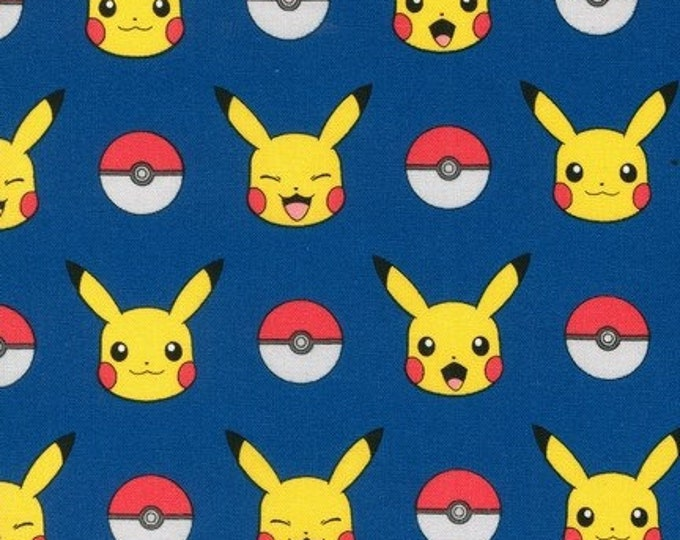 Robert Kaufman - Pokemon - Pikachu - Pokeball - Pokemon Fabric - Blue background - Sold by the Yard