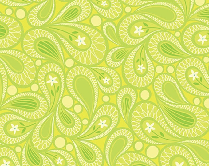 Benartex - Contempo - Free Motion Fantasy - by Amanda Murphy - Paisley - Lime - 5445-42 - Sold by the Yard