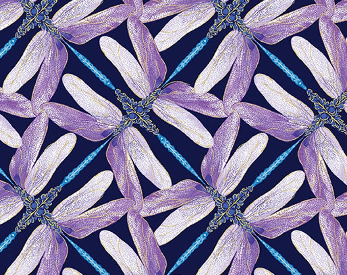 Kanvas for Benartex - Dance of the Dragonfly - Pinwheel Geo - Navy/Violet- 8502-68 - Gold Metallic - Sold by the Yard