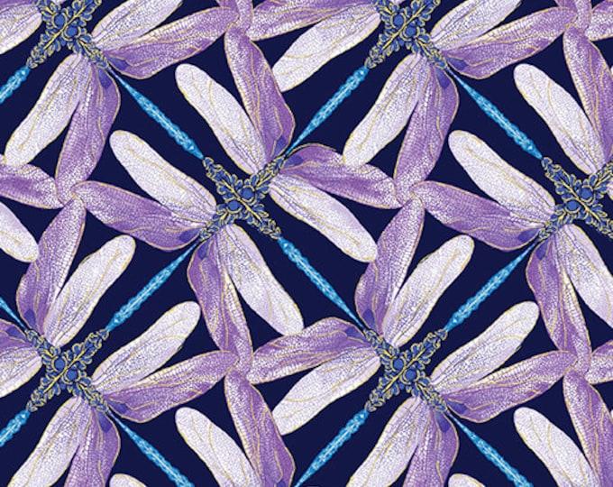 Kanvas for Benartex - Dance of the Dragonfly - Pinwheel Geo - Navy/Violet- 8502-68 - Gold Metallic - Sold by the Yard