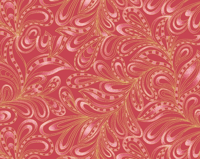 Benartex - Cat-I-Tude 2 - Purrfect Together -  Cat - Metallic - Featherly Paisley - Red - 7555M10B  - Sold by the Yard