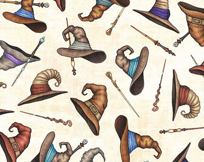 Quilting Treasures - Spellbound - Sold by Yard - Wizard Hats and Wands - Cream - 26611 E
