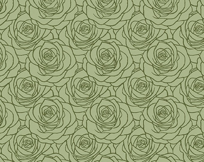 Benartex - Festival of Roses -Outline Roses - Medium Green - Pearl -- 6642P43- Sold by the Yard