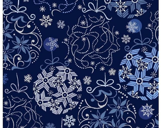 Paint Brush Studios Fabric - Blue Holiday - Silver Metallic - Blue and Silver Balls - 672201 -  Sold by the Yard