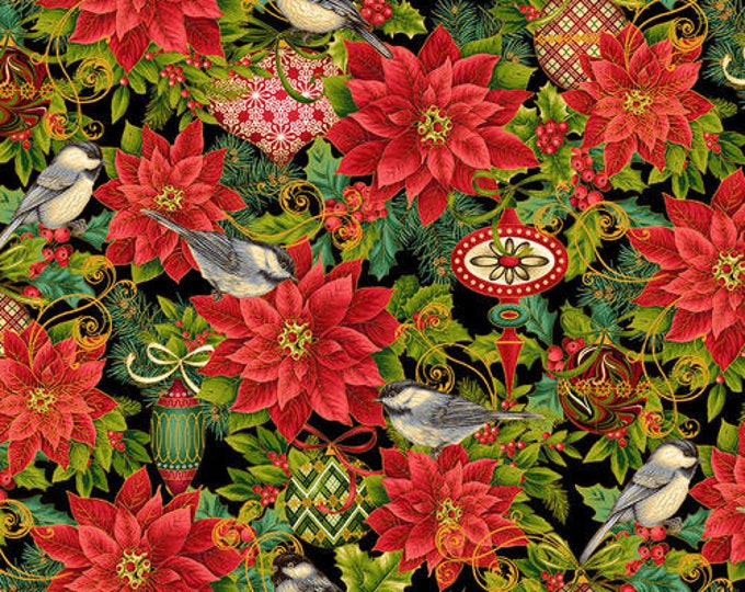 Studio E - Christmas Joy  -  Pointsettia - Bird - Ornaments - Christmas Fabric - Black/Red - Gold Metallic -  4693M-99 - Sold by the Yard