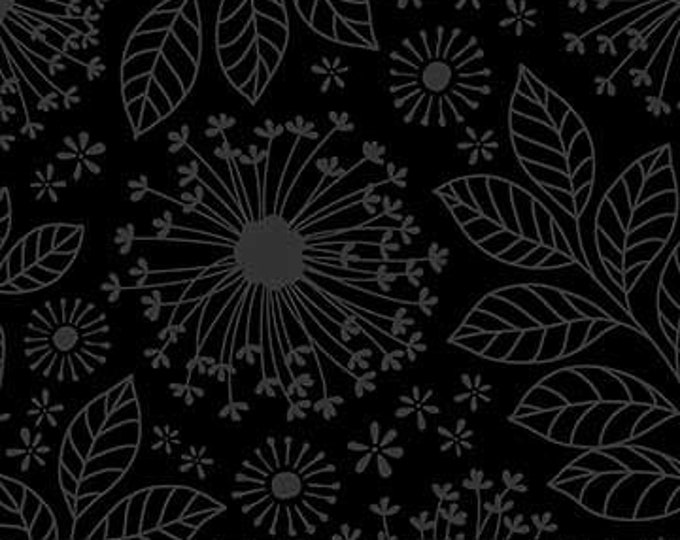 Northcott - Simply Neutral - Black -  22141-99  - Neutral - Tone on Tone -  Gray on Black - Black on Black - Floral -  Sold by the Yard