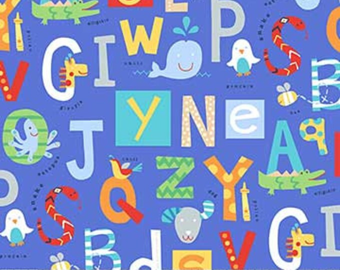 Northcot  - Alphabet Soup  - Flannel - F22390-44 - Multi Colored - Blue Background  - Sold by the Yard