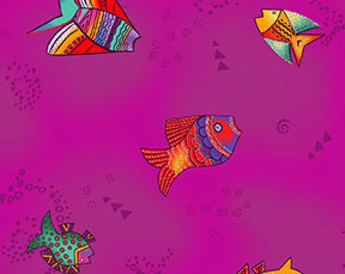 Laurel Burch - Sea Goddess - Fish - Eggplant - Silver Metallic  -  Y2601-45M - Sold by Yard