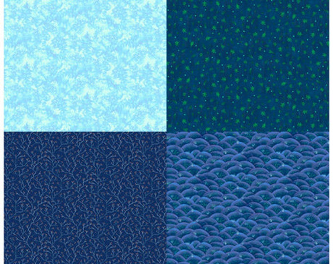 "Quilting Treasures - His Majesty - The Tree - Fat Quarter Panel - Sprigs - Blue - 27565B - 36""x43"" - Sold by the Panel"
