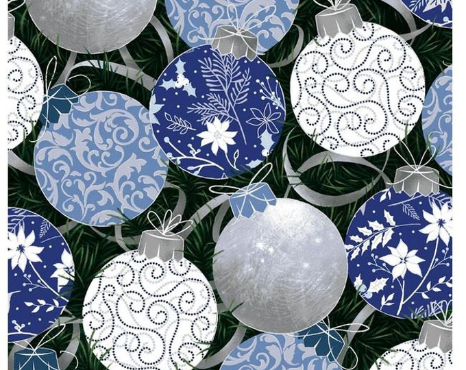 Paint Brush Studios Fabric - Blue Holiday - Silver Metallic - Blue and Silver Balls - 672011 -  Sold by the Yard