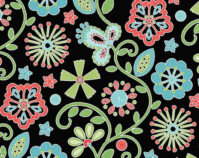 Benartex - Contempo -Sewing Room - by Amanda Murphy - Embroidery - Black - 3403-12 - Sold by the Yard