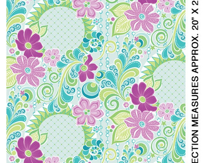 Benartex - Contempo - Free Motion Fantasy - by Amanda Murphy - Feature Fabric - Aqua - 5440-24 - Sold by the Yard