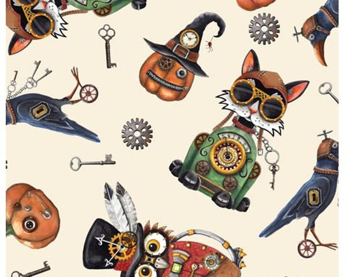 Quilting Treasures - Steampunk Halloween - Halloween Toss - Cream - Steam Punk  - 27771E - Sold by the Yard